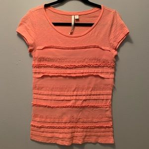 Orange ruffle LC Lauren Conrad tee. S